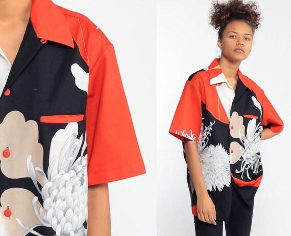 70s Floral Button Up Shirt Asian Floral Print Orange Black Japanese Button Down 1970s Top Vintage Boho Short Sleeve Tropical Medium Large