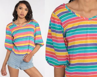 Rainbow Shirt Striped T Shirt Balloon Puff Sleeve Top Vintage 80s Tshirt Hipster Shirt Retro Tee 1980s Short Sleeve Small Medium