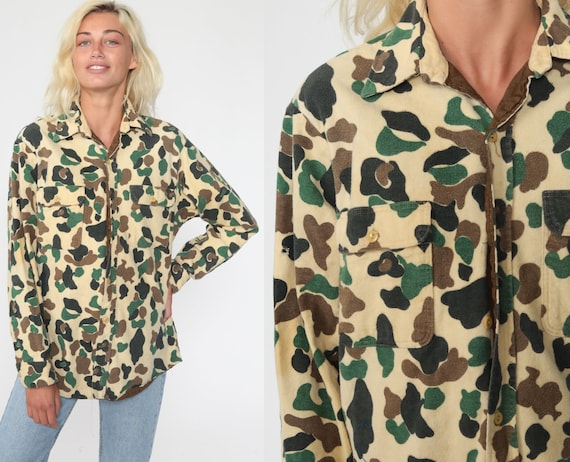 Camo Army Shirt Military Uniform Camouflage Utility Yellow Brown 80s Commando Cargo Field Button Up Oversized Grunge Medium Large