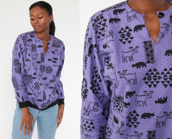 Animal Sweatshirt 90s Bear Moose Shirt All Over Print Sweatshirt Graphic Print Jumper Slouchy 1990s Sweater Purple Vintage Medium Large