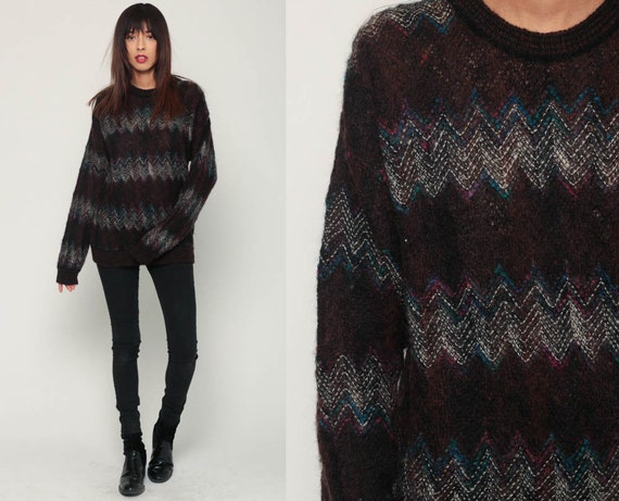 Geometric Sweater 80s Zig Zag Striped Sweater WOOL BLEND Knit Jumper 1980s Boho Hipster Vintage Pullover Zigzag Retro Extra Large xl