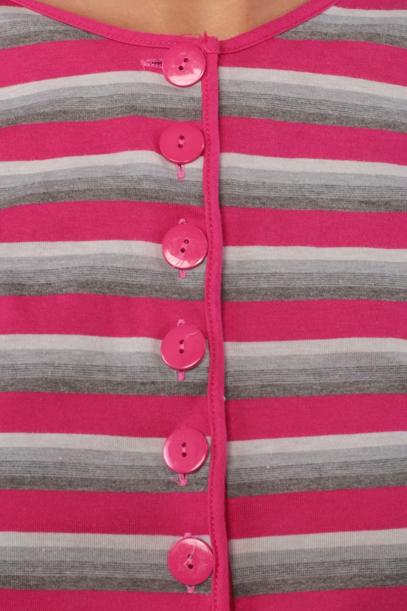 80s Bodysuit Top Pink STRIPED Shirt Leotard Shirt Pink Blouse 1980s Grey Vintage Button Up Polo Cap Sleeve Aerobics One Piece Medium