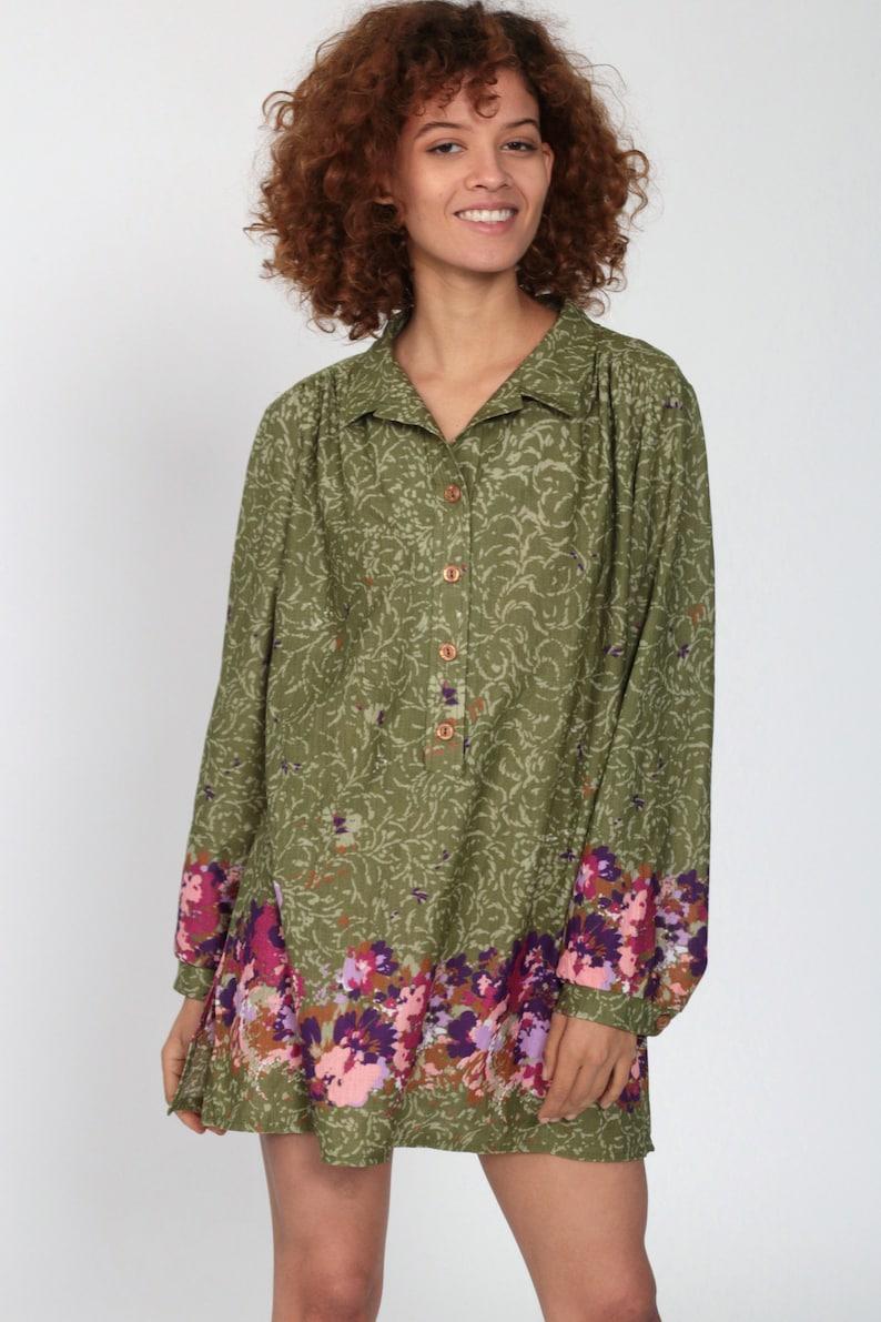 70s Top Large xl Micro Mini Dress Floral Button Up Shirt 70s Tunic Top Green Shift Dress Vintage Long Sleeve Shirt Petite Large L