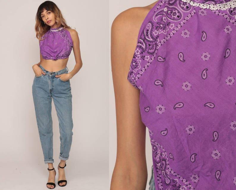 aa4a5b32a58ab Scarf Top Vintage HANDKERCHIEF HEM Backless Shirt Bandana 90s