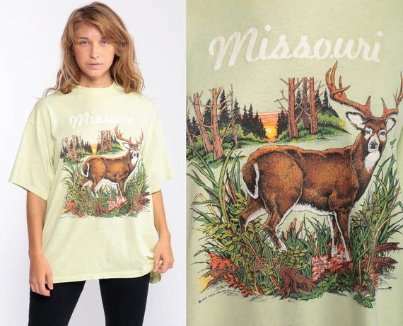 Missouri Tshirt Deer Shirt 80s Animal TShirt 1989 Burnout Vintage Retro Paper Thin Graphic Wilderness Screen Print Yellow Extra Large xl