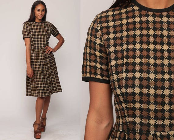 1960s Dress Plaid Dress Mini Mad Men 60s Pleated Day Dress Checkered Brown Black Short Sleeve Pin Up High Waisted Vintage Small Medium