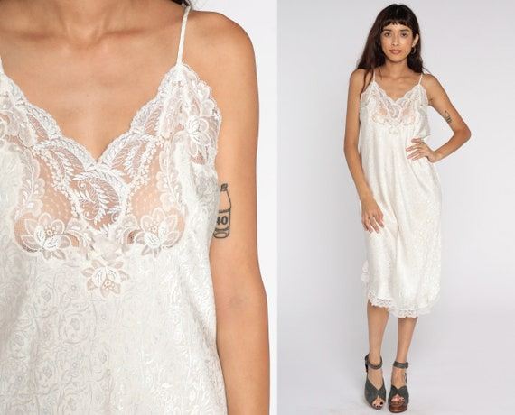 Christian Dior Slip White Floral Embossed Slip Dress Chemise Lingerie Vintage 90s Nightgown Midi Spaghetti Strap Sleep 80s Medium