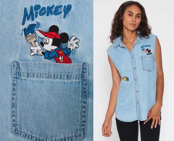90s Disney Denim Shirt -- Shirt Mickey Mouse Denim Shirt Disney Button Up Jerry Leigh Top Sleeveless 1990s Vintage Blouse Button Up Medium