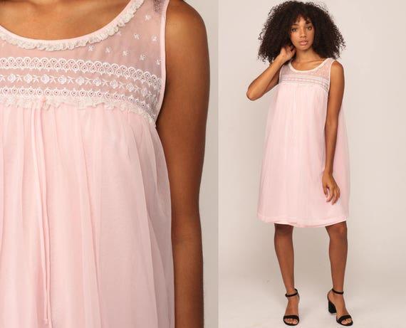 Pastel Nightgown Lingerie Babydoll Dress 70s Slip Dress Nylon Mini 80s Nightie Boho Lace Bow Vintage Tent Bohemian Small Medium Large