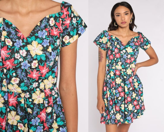 80s Romper Dress Floral Playsuit Wide Leg Romper One Piece Woman Sweetheart Neckline High Waist 1980s Vintage Short Sleeve 1980s Medium 8