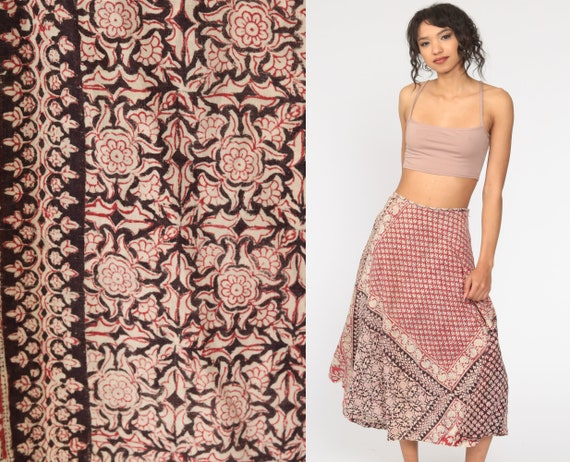 Indian Batik Skirt Hippie 70s Boho Midi 1970s Ethnic Cotton Floral Bohemian High Waisted Festival Red Small