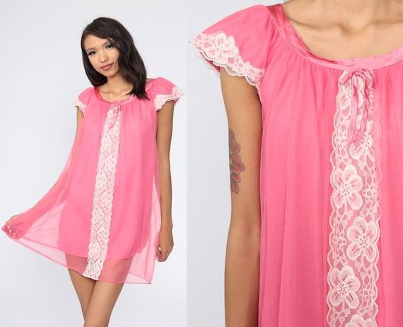 Babydoll Nightgown Lingerie Slip Dress 70s Mini Lace Bubblegum Pink Nightie Tent Trapeze Filmy Nylon Boho 1970s Puff Sleeve Vintage Small S
