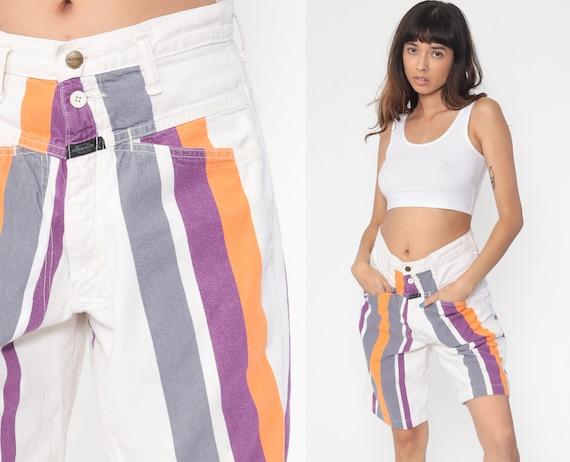 Striped Denim Shorts 90s White Jean Shorts Orange Denim Shorts High Waisted Shorts 1990s Vintage Girbaud Medium 31