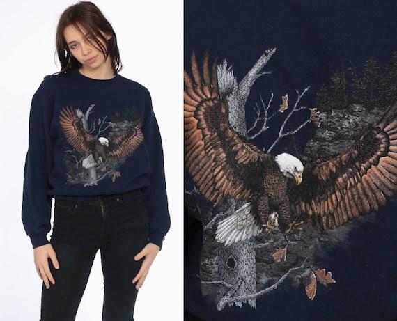80s Eagle Sweatshirt -- 1980s Navy Blue Animal Bald EAGLE Shirt 1990s Graphic Print Jumper Slouchy 90s Sweater Vintage Small Medium