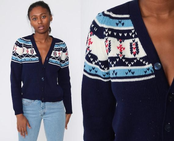 Fair Isle Cardigan Sweater 70s Sweater Boho Icelandic Sweater Button Up 1970s Nordic Sweater Navy Blue Bohemian Vintage Bohemian Small