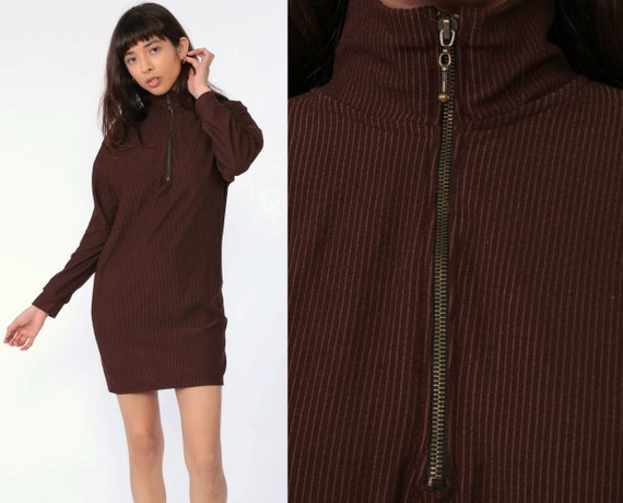 Quarter Zip Dress Brown Mini Dress 90s Shift Grunge Dress Long Sleeve Striped High Neck Zip Up Turtleneck Vintage 1990s Simple Small