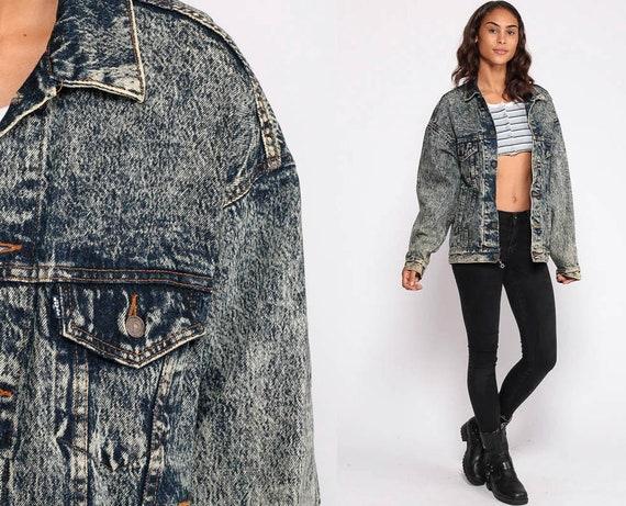 Levi Denim Jacket 80s Levis Jean Jacket Oversize Trucker Grunge Stone Acid Wash 1980s Vintage Button Up Hipster Biker Medium