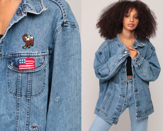 80s Denim Jacket AMERICAN FLAG PATCH Jean Jacket Vintage Usa Lee Jacket Lee Grunge Biker Button Up 1980s Hipster Trucker Extra Large xl 2xl