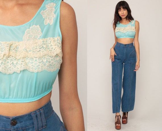 70s Lingerie Top Bralette Sheer Crop Top Sheer LACE Top Nylon Bralet Boho Vintage Cropped Shirt 1970s Bohemian Extra Small xs