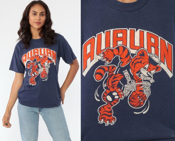 Auburn University T Shirt ALABAMA 80s Auburn Tigers Tshirt State College Distressed Graphic Retro Vintage Navy Blue T Shirt Small Medium