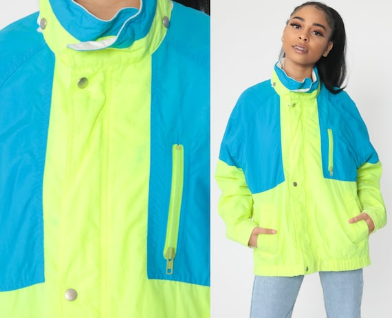 Neon Yellow Windbreaker Jacket 90s Jacket Neon Jacket Blue Funnel Neck Jacket Color Block Fluorescent Vintage 80s Highlighter Medium Large