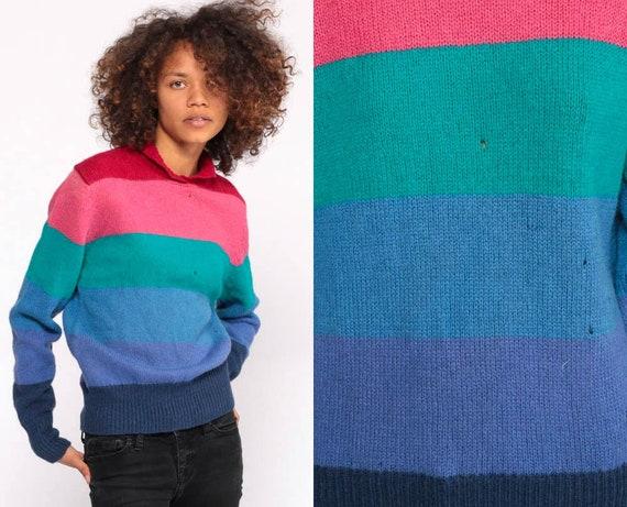 Rainbow Striped Sweater WOOL Sweater 90s Rainbow Knit Jumper 1990s Boho Vintage Retro Women Hippie Medium