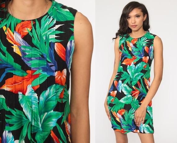 90s Floral Dress Hawaiian Tropical Mini Sundress Flower Print Summer Dress Boho 1990s Bohemian Chic Vintage Shift Sleeveless Extra Small xs