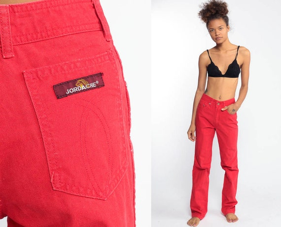 Jordache Jeans 90s Denim Red Mom Jeans High Waisted Straight Leg Jordache Denim High Waist 1990s Vintage Tall 24 Extra Small XS 00 xxs