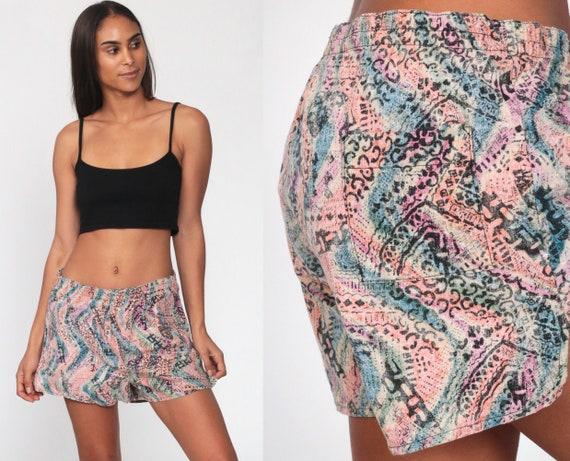 90s Swim Trunks ABSTRACT Print Pink Beach Shorts Swirl Print Surf Shorts LINED Summer Retro Vintage 1990s Surfer Shorts Cotton Medium Large