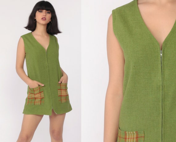 Green Wool Dress 70s Mod Micro Mini Jumper Checkered Print Pockets Pinafore Zip Up V Neck 1970s Shift Sleeveless Vintage Small