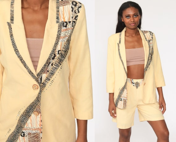 Safari Shorts Suit Set 80s Two Piece Outfit Animal Print Blazer Beaded Leopard Romper Yellow Business Suit 1980s Button Up Summer Medium