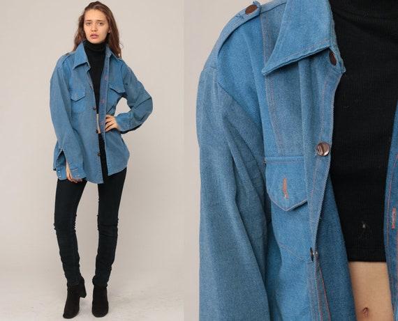 Denim Shirt Men 70s Blue Jean Button Up Denim Boyfriend Shirt Boho 1970s Long Sleeve Vintage Hipster Normcore Retro Large
