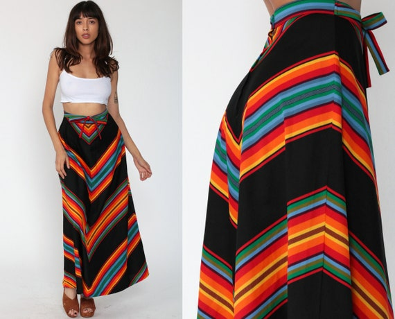 70s Maxi Skirt CHEVRON Striped Rainbow Skirt Boho Skirt 1970s Hippie Festival High Waist Long Black Bohemian Maxi Skirt Vintage Small xs