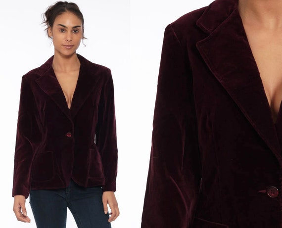 Burgundy VELVET Blazer 80s Velvet Jacket Tailored Vintage Gothic 1980s Collared Formal Vintage Goth Professor Retro Small