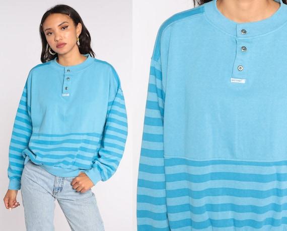 Blue Henley Sweatshirt Striped Sweatshirt Brittania Half Button Up 80s Striped Pullover Retro 1980s Oversized Large L