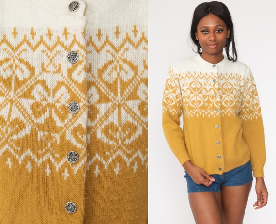 Fair Isle Cardigan Sweater 80s Mustard Yellow White Sweater Boho Norwegian Button Up 70s Nordic Sweater Bohemian Vintage Medium Large