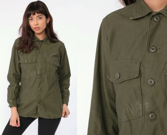 Military Shirt Army Olive Drab Green 80s Commando Distressed Field Utility Button Up Grunge Cargo Vintage Camo Cotton Small Medium