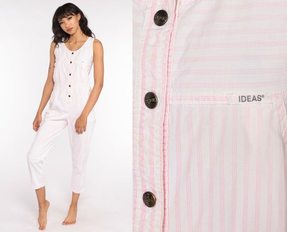80s Ideas Jumpsuit Pink Striped Tapered Pant Button Up Cotton Jumpsuit High Waisted 1980s Vintage Pantsuit Sleeveless Extra Small xs s