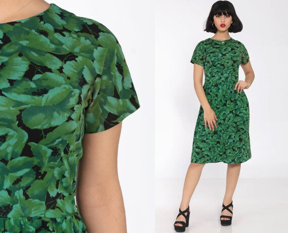 60s Floral Dress Midi Mad Men 1960s Green Day Dress Tea Length Vintage Garden Party Short Sleeve High Waist Small 4