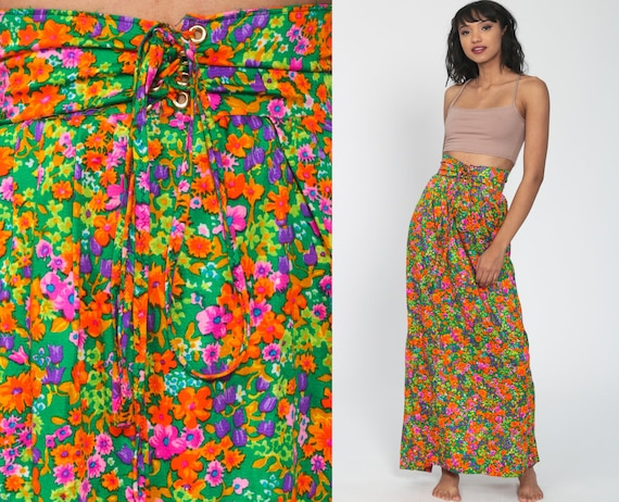 Floral Bohemian Skirt Maxi 70s Long PSYCHEDELIC Skirt Lace Up Neon Green High Waist Hippie 1970s Boho Vintage Bohemian Retro Extra Small xs
