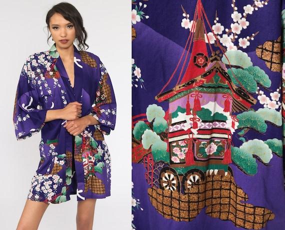 Floral Kimono Robe Jacket 90s Bohemian Wrap Purple Flower Print Vintage Boho Hippie Sleeve Japanese Festival Extra Large xl l