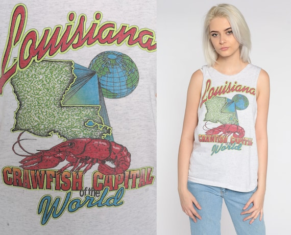 Louisiana Crawfish Shirt WOLF Shirt Animal Shirt Tank Top 90s Graphic Tee 1990s Travel Grey Vintage Sleeveless Single Stitch Small Medium