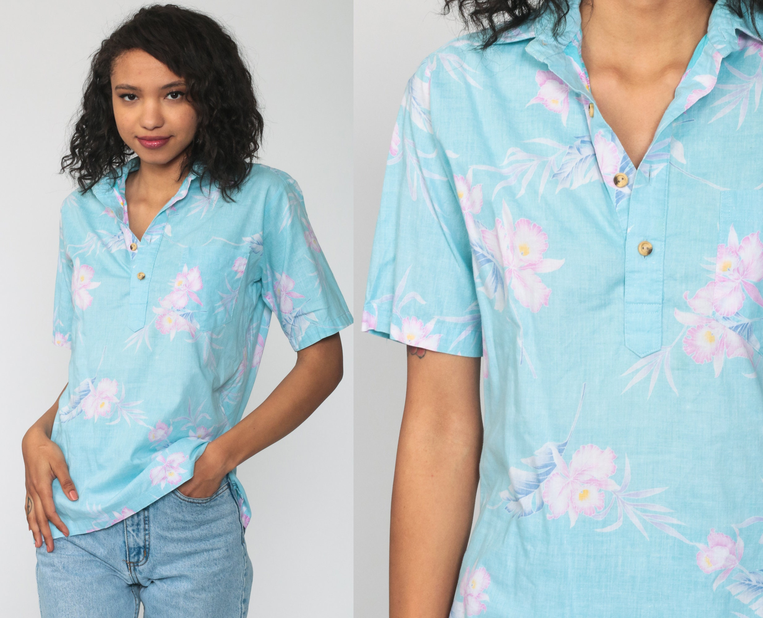 Vintage Hawaiian Womens Abstract Print Blouse with Side Splits Multicolor Pastel colors M size Long Sleeve Spanish Shirt Hipster style