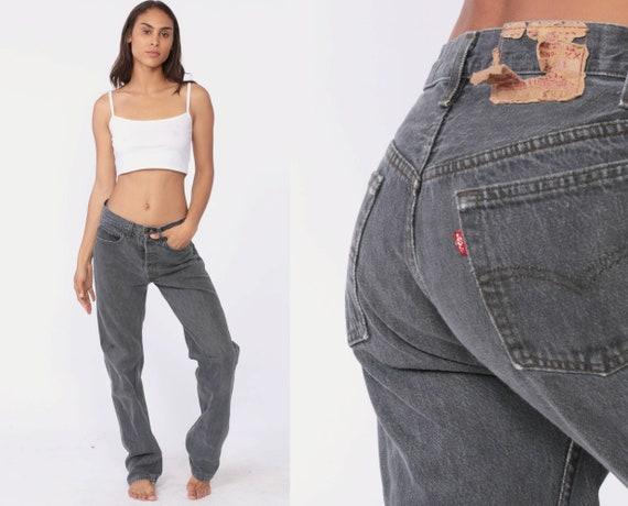 Grey Levi's 501 Jeans 30 x 33 -- Straight Leg Jeans Grunge 80s Mom Jeans Denim Pants High Waist Levi 90s Boyfriend Black Vintage Medium 10