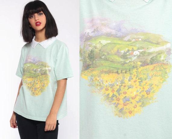 90s Countryside Print Tshirt Floral Tee Shirt Grunge Tshirt SUNFLOWER PRINT Collared Kawaii Green Short Sleeve T Shirt 1990s Vintage Small