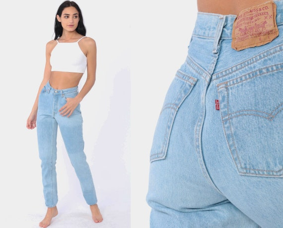 Light Blue Levis Jeans 2 -- 90s Mid Rise Button Fly Jeans Faded Mom Jeans Denim Levi Strauss 80s Pants Slim Tapered Vintage Extra Small xs