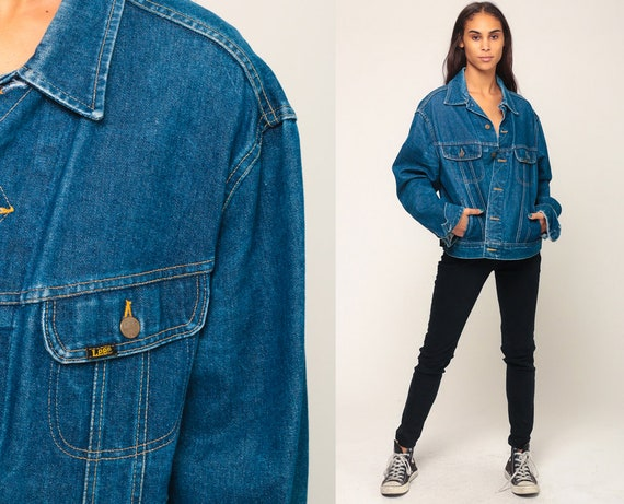 80s Jean Jacket LEE Denim Jacket Blue Stone Wash Oversize Trucker 1980s Vintage Biker Oversized Button Up Trucker Hipster Extra Large xl