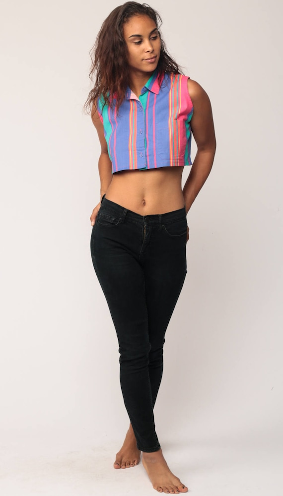 4eada825c9cf9 Cropped Blouse 80s Button Up Shirt Striped Crop Top 90s Tank
