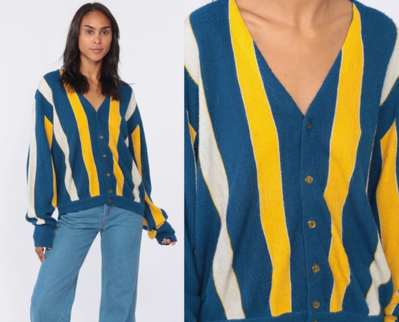 Blue Grandpa Cardigan Yellow Striped Sweater 80s Nerd Sweater Button Up Acrylic Knit 1980s Preppy Vintage Bowling Medium Large