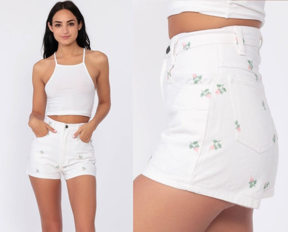 Floral Jean Shorts 24 -- 90s White DENIM Shorts EMBROIDERED High Waisted Jean Shorts Flower Print 80s Rose Shorts Vintage Extra Small xs 0